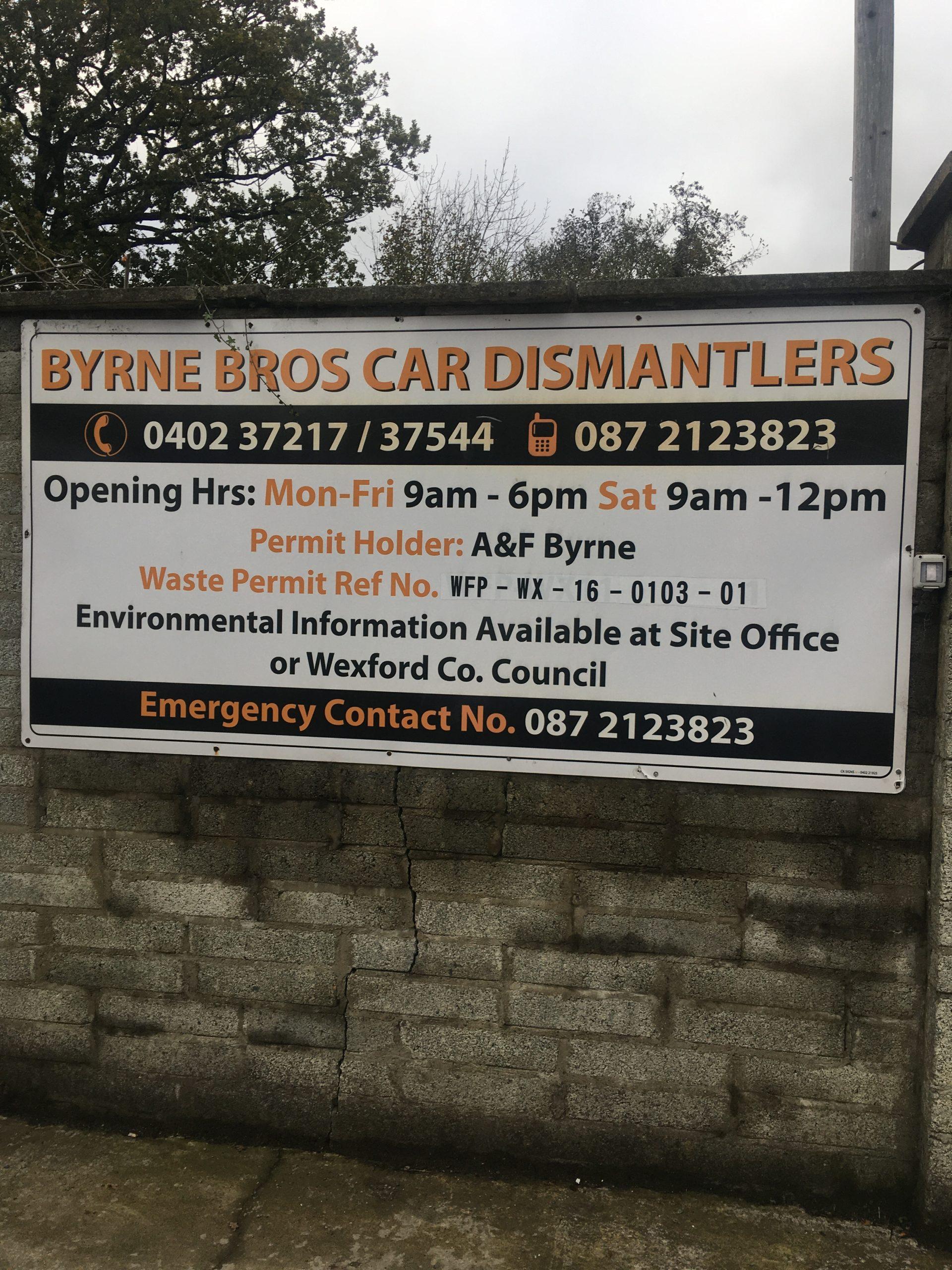 Byrne Car Dismantlers Sigh